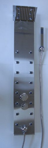 STAINLESS STEEL THERMOSTATIC SHOWER PANEL WITH SQUARE HEAD & 16 BODY JETS
