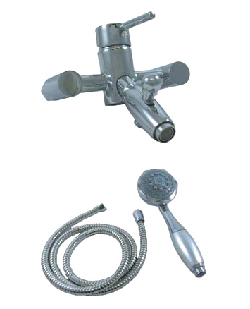 WALL MOUNTED SINGLE LEVER BATH SHOWER MIXER TAPS WITH HANDHELD SHOWER SET