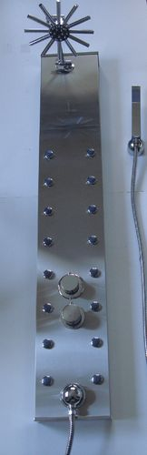 STAINLESS STEEL THERMOSTATIC SHOWER PANEL WITH STAR HEAD & 16 BODY JETS