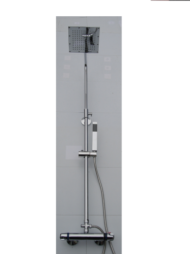 EXPOSED THERMOSTATIC RISER SHOWER WITH 'SQUARE' SLIMLINE SHOWER HEAD