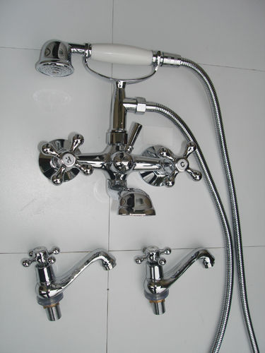 VICTORIAN STYLE WALL MOUNTED BATH SHOWER TAPS WITH A PAIR OF BASIN TAPS ('H' & 'C')