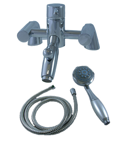 DECK MOUNTED SINGLE LEVER BATH SHOWER MIXER WITH HANDHELD SHOWER SET