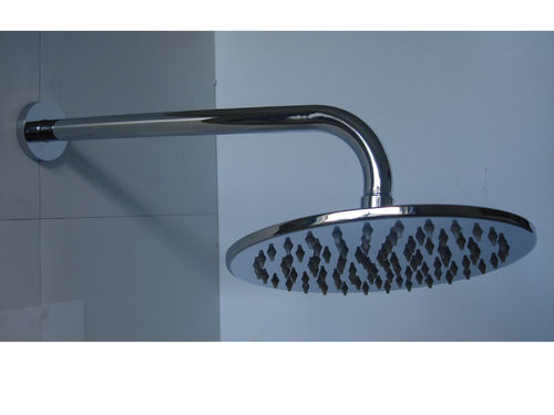Slimline Chrome Rain Shower Head & Wall Arm