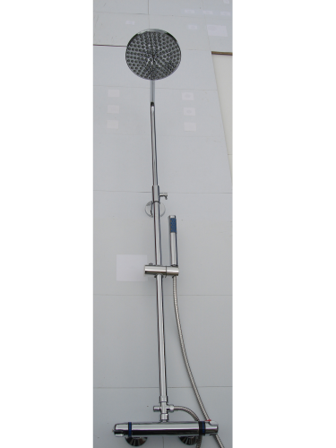 EXPOSED THERMOSTATIC RISER SHOWER WITH ROUND RAIN SHOWER HEAD
