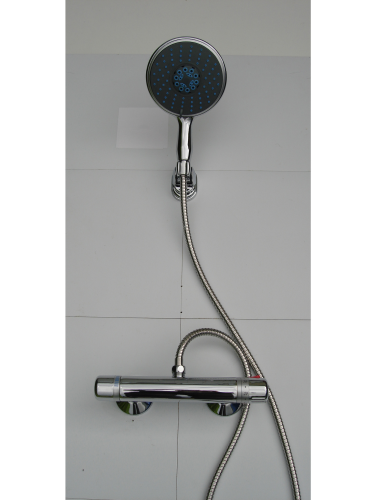 EXPOSED TORPEDO STYLE THERMOSTATIC SHOWER BAR VALVE WITH LARGE HANDHELD SHOWER SET