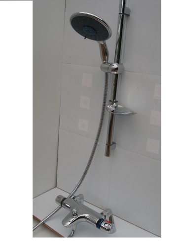 Deck Mounted Thermostatic Bath/Shower Taps & Rail, Extra Large Multi-Spray Head & Hose