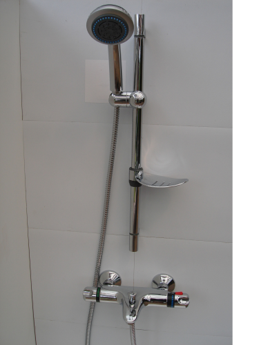 Wall Mounted Thermostatic Bath Shower Taps, Rail, Multi Spray Head & Hose