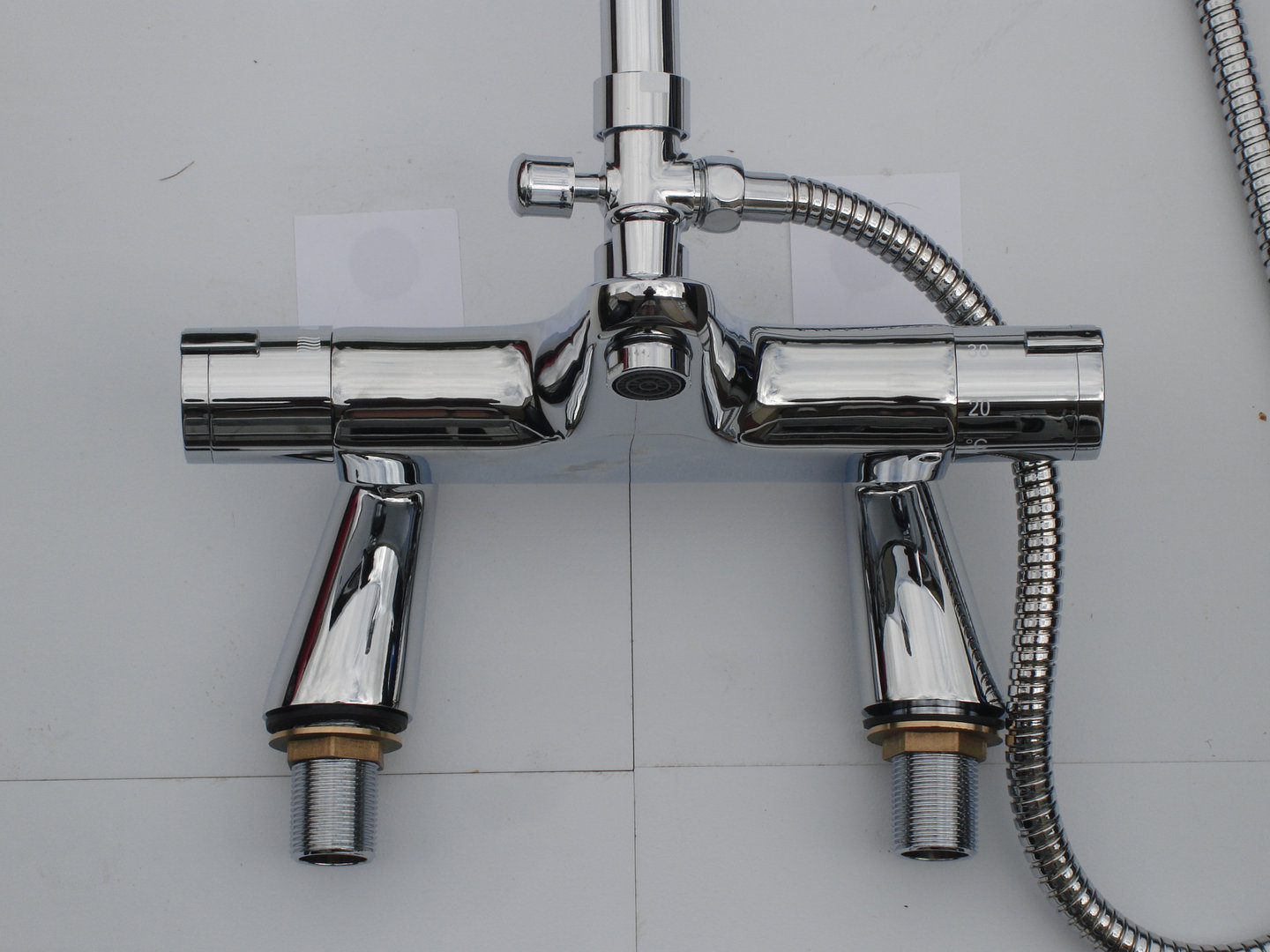 DECK THERMOSTATIC BATH SHOWER MIXER TAPS RIGID RISER RAIN HEAD MULTI