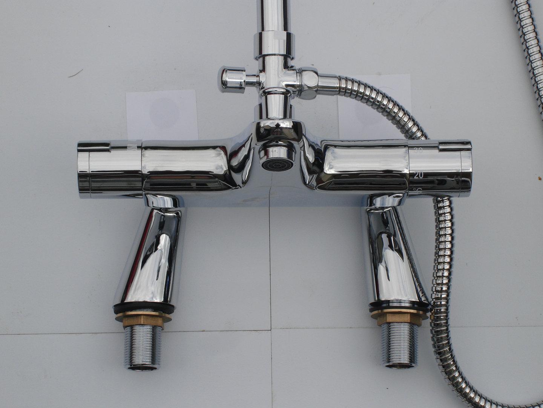 DECK THERMOSTATIC BATH SHOWER MIXER TAPS, RIGID RISER, RECTANGULAR ...