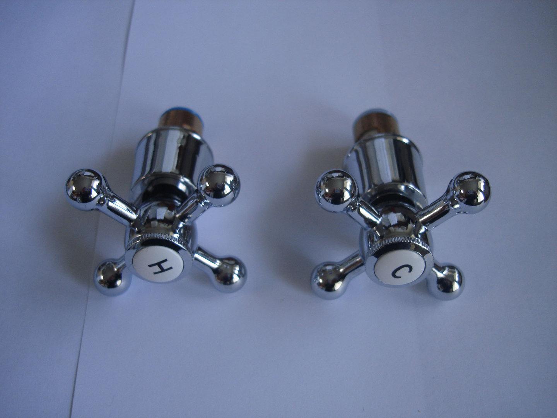 TRADITIONAL H & C CROSS HANDLES & CERAMIC DISCS FOR VICTORIAN BATH ...