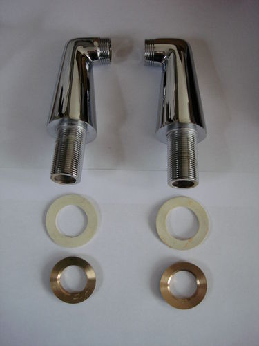 PAIR OF DECK MOUNTING PILLARS OR LEGS FOR BATH MIXER TAPS, 9.5CMS TALL & 180mm CENTRES AT BASE