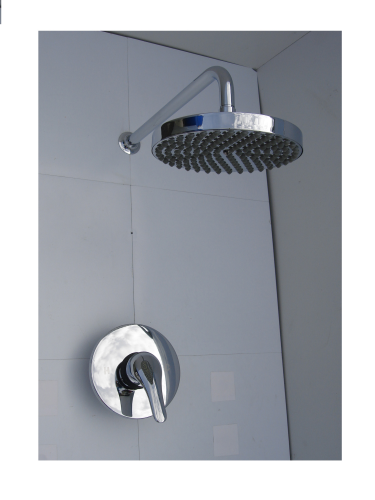 CONCEALED MANUAL MIXER SHOWER SET WITH WALL MOUNTED RAIN HEAD