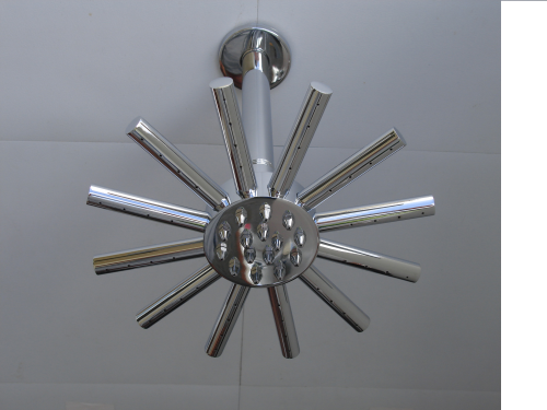 "STAR OR CLOUDBURST FIXED SHOWER HEAD WITH 4"" CEILING MOUNTING ARM"