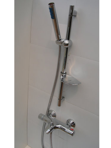 Wall Mounted Thermostatic Bath/Shower Taps, Sliding Rail, Pencil Head & Hose