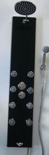 BLACK GLASS & ALUMINIUM THERMOSTATIC SHOWER COLUMN PANEL WITH BODY JETS, BATH FILLER & DUAL SHOWER