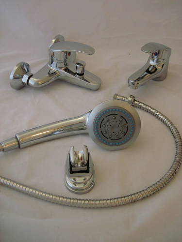 COMBO: WALL MOUNTED BATH SHOWER MIXER WITH HAND SET & BASIN MONO TAPS