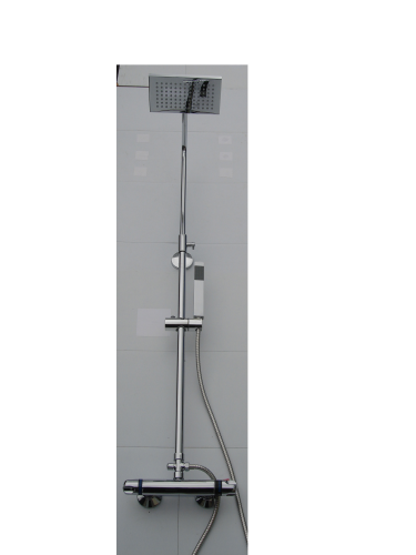 EXPOSED THERMOSTATIC RISER SHOWER WITH 'RECTANGULAR' SHOWER HEAD