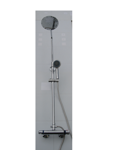 EXPOSED THERMOSTATIC RISER SHOWER WITH 'ROUND' SLIMLINE SHOWER HEAD