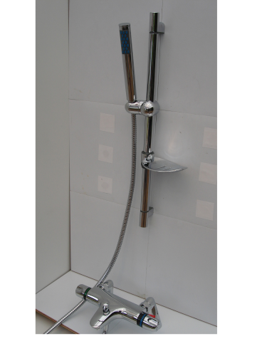 Deck mounted Thermostatic Bath Shower Taps, Rail, Pencil Head & Hose