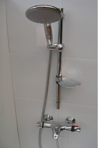 Wall Mounted Thermostatic Bath Shower Taps, Rail, Extra Large Multi Spray Head & Hose