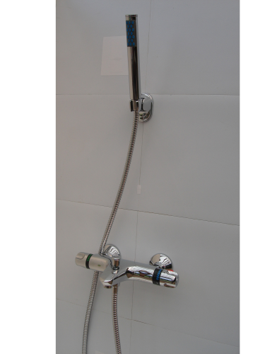 Wall mounted Thermostatic Bath Shower Mixer, Pencil Handheld Head & Hose