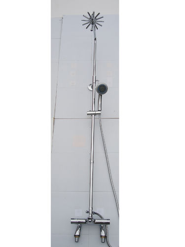 DECK THERMOSTATIC BATH SHOWER MIXER TAPS, RIGID RISER, STAR HEAD & MULTI FUNTION HAND SHOWER SET