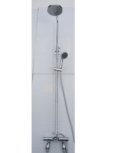 DECK THERMOSTATIC BATH SHOWER MIXER TAPS, RIGID RISER, RAIN HEAD & MULTI FUNTION HAND SHOWER SET